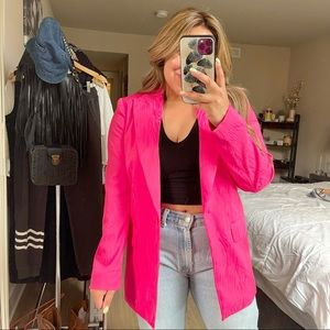 H&M   NWOT Funky 90's Hot Pink Padded Shoulder Blazer Size: Small